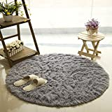 SANNIX Round Shaggy Area Rugs and Carpet Super Soft Bedroom Carpet Rug for Kids Play (Gray,0.8X0.8M)