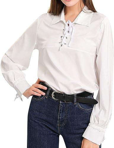 Rcool Camiseta Camisetas Tops y Blusas Camisetas Mujer Manga Corta Camisetas Deporte Mujer Camisetas Mujer,Camisa de Manga Larga de Color Liso con Solapa de Corbata: Amazon.es: Ropa y accesorios