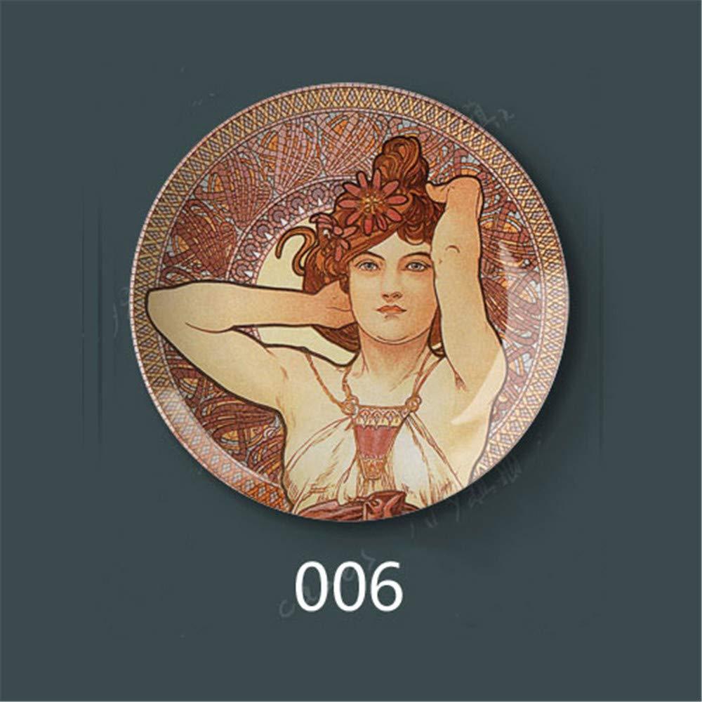 tobbrt Disco Decorativo in Porcellana per Appendere la Parete Disco per Appendere Disco in Ceramica Disco per Arte Creativa Stile Fornasetti