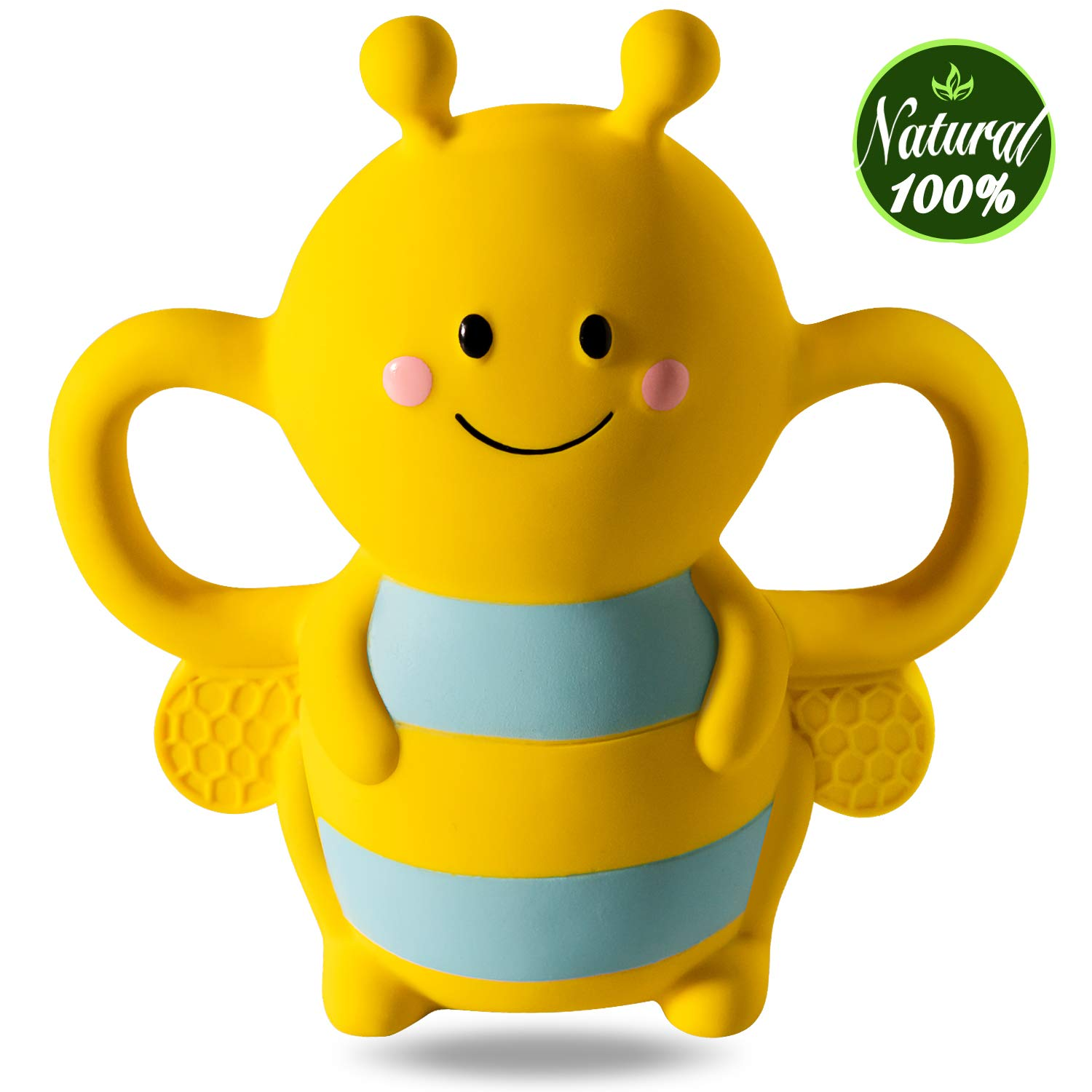 Buzzy Bee Multi-Textured Soft /& Soothing Easy-Hold Silicone Teether BPA Free ...