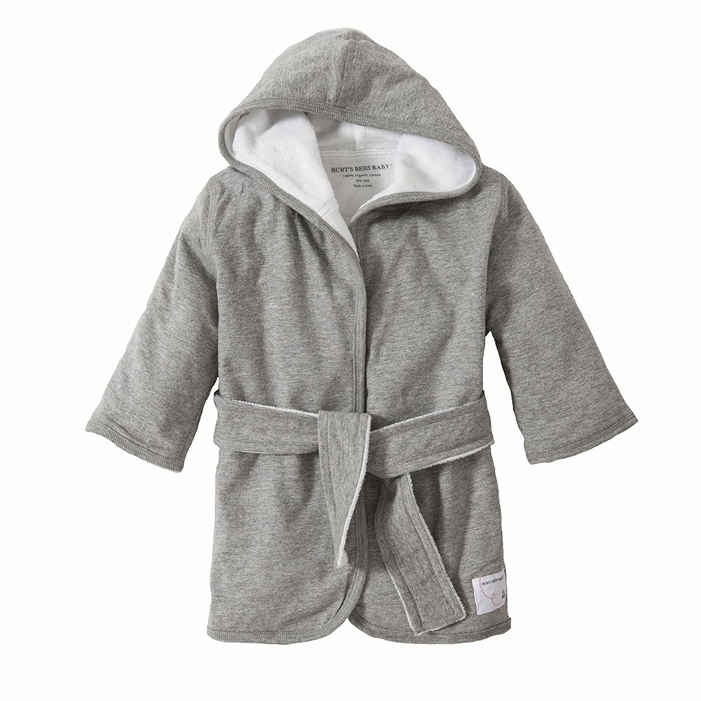 Burt's Bees Baby - Infant Hooded Robe, 100% Organic Cotton (Heather Gray)