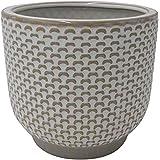 "Amazon Brand – Stone & Beam Textured Stoneware Planter, 7.5""H, Ivory"