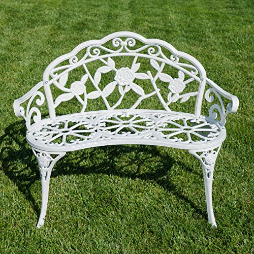 Belleze Rose Style Love Seat Bench White Cast Iron Antique Designed Outdoor Patio Porch Home
