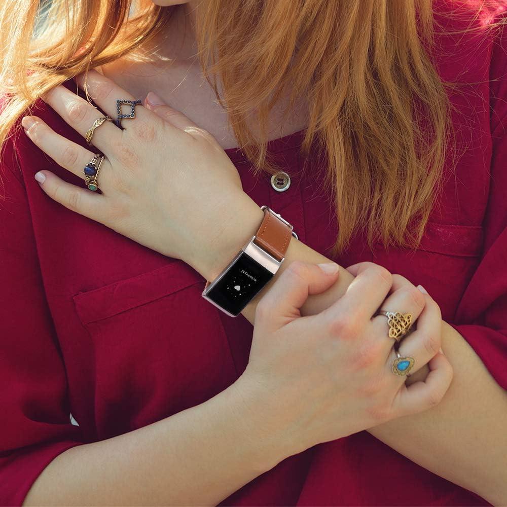 Vancle Kompatibel mit Fitbit Charge 4 Armband//Fitbit Charge 3 Armband Lederarmband Edelstahl Schnalle Ersatzarmb/änder f/ür Fitbit Charge 3 und Fitbit Charge 4
