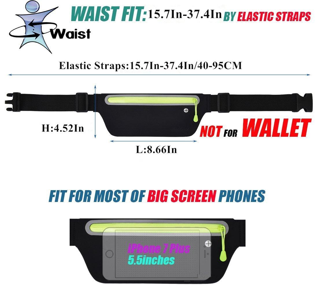 Firstbuy Running Belt, Ultra Light Bounce Free Waist Pouch Fitness Workout Belt Sport Waist Pack Exercise Waist Bag for Apple iPhone 8 X 7 6+ 5s Samsung in Running GYM Marathon Cycling Sports