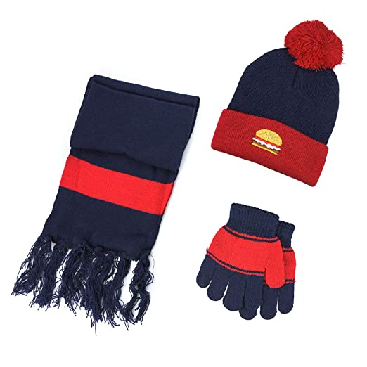 Scarf VBIGER Kids 3-Pieces Knit Hat Gloves Set Winter Warm Set for Boys Girls
