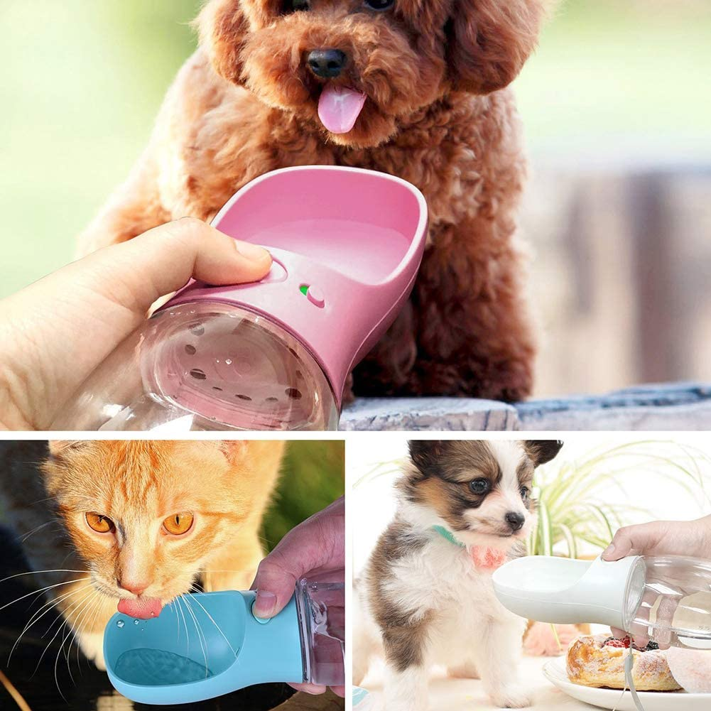 12 oz Pets Feeder for Pet Walking Travelling Drinking RUXI Dog Water Bottle Portable Dogs Travel Water Bottle Pink