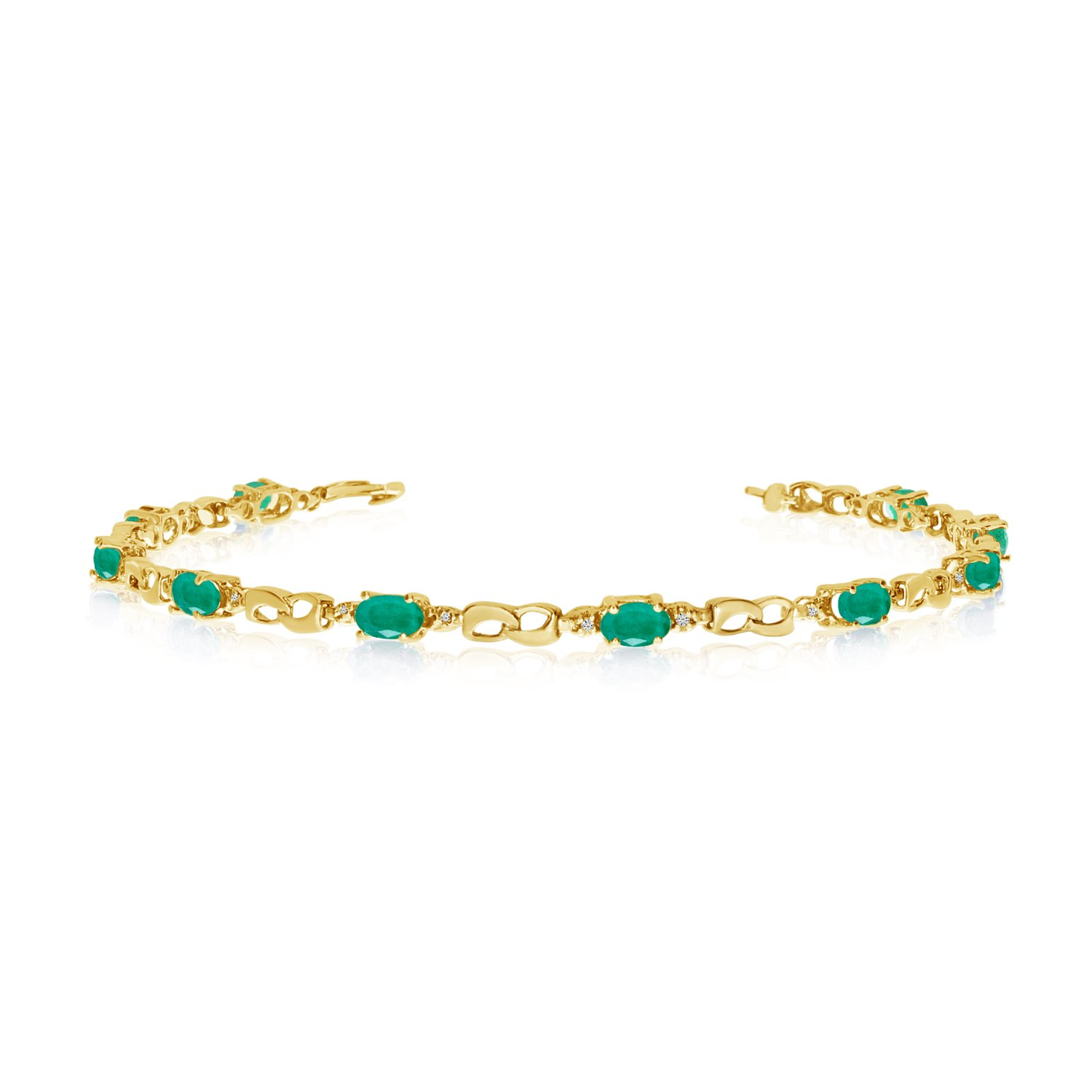 10K Yellow Gold Oval Emerald and Diamond Link Bracelet (8 Inch Length)