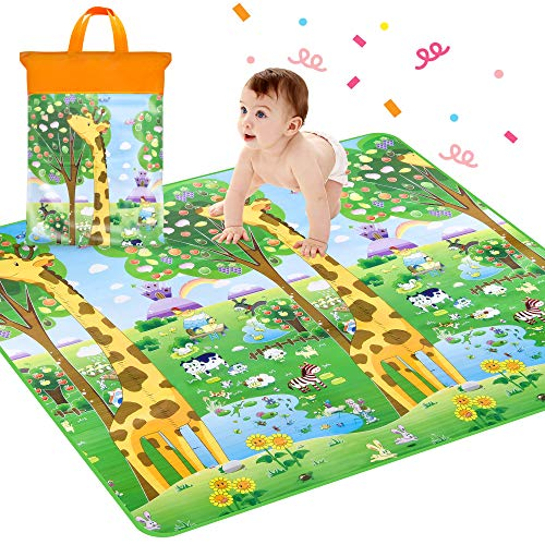 - Crawling Mat, Waterproof Non-Toxic Non-Slip Baby Floor Mat Educational Learning Area Rug for Kids and Children, Kids Activity Mat Reversible Thick Large 78.7