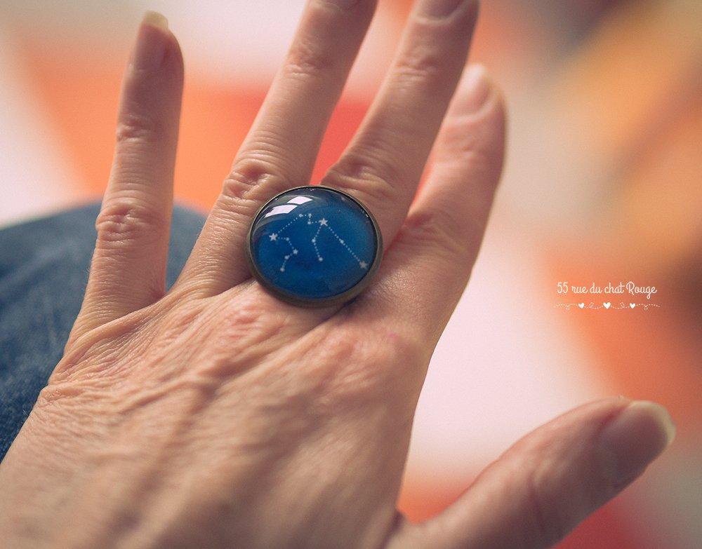 Anillo cabujón 25 mm spirit Marruecos, Azul suave, azul turquesa