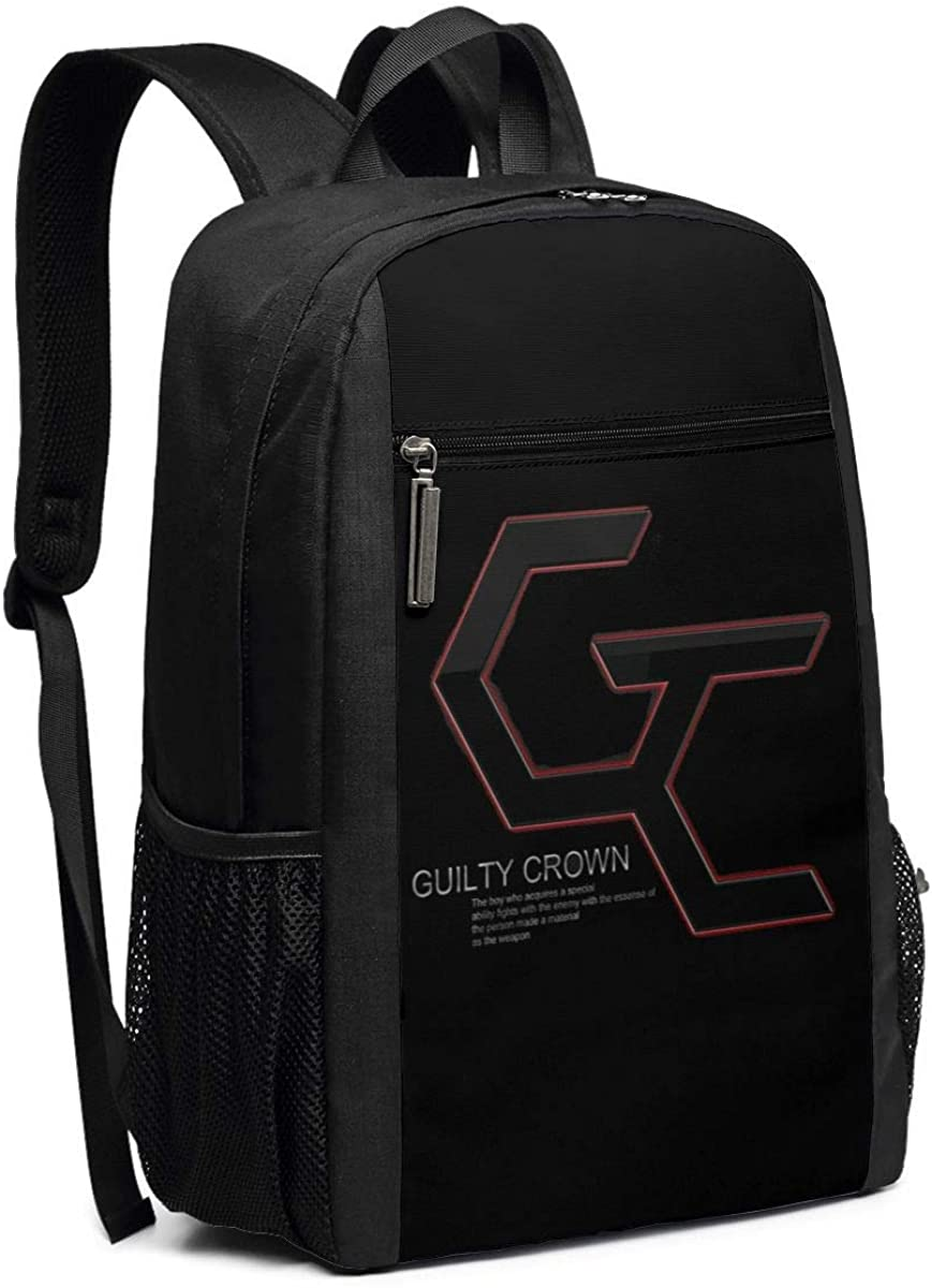 Classic College Bookbag Casual Daypack Guilty Crown Logo 17 Inch Laptop Backpacks