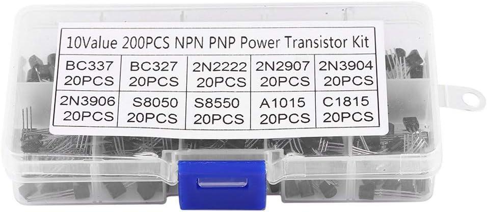 2N2222 2N2907 2N3904 2N3906 Transistor-Set 200 St/ück 10 Werte Silikon Transistor-Sortiment BC337 BC327