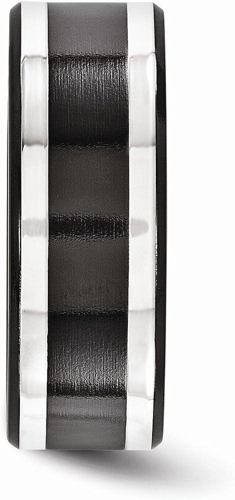 TONYS JEWELRY CO Edward Mirell Titanium Black Ti /& Sterling Silver Inlay 9mm Band