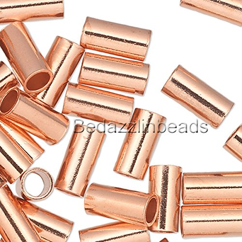 (100 Pure Copper Crimp Tube Beads Findings for Ending Beading Cord & Wire Ends (6mm x 3mm))