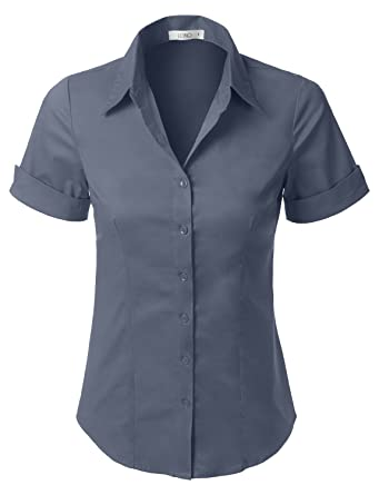 Women s short sleeve blouses button down breeze clothing for Womens stretch button down shirt