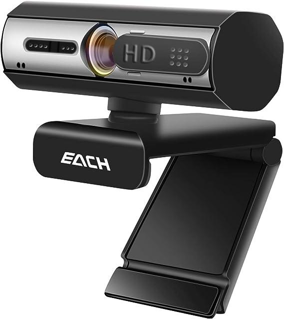 FaceTime Hangouts PC//Mac//Laptop//Macbook//Tablet EACH Autofocus Webcam HD 1080P Webcam CA603 USB Kamera mit Webcam Abdeckung USB Webcam f/ür Skype WebEx