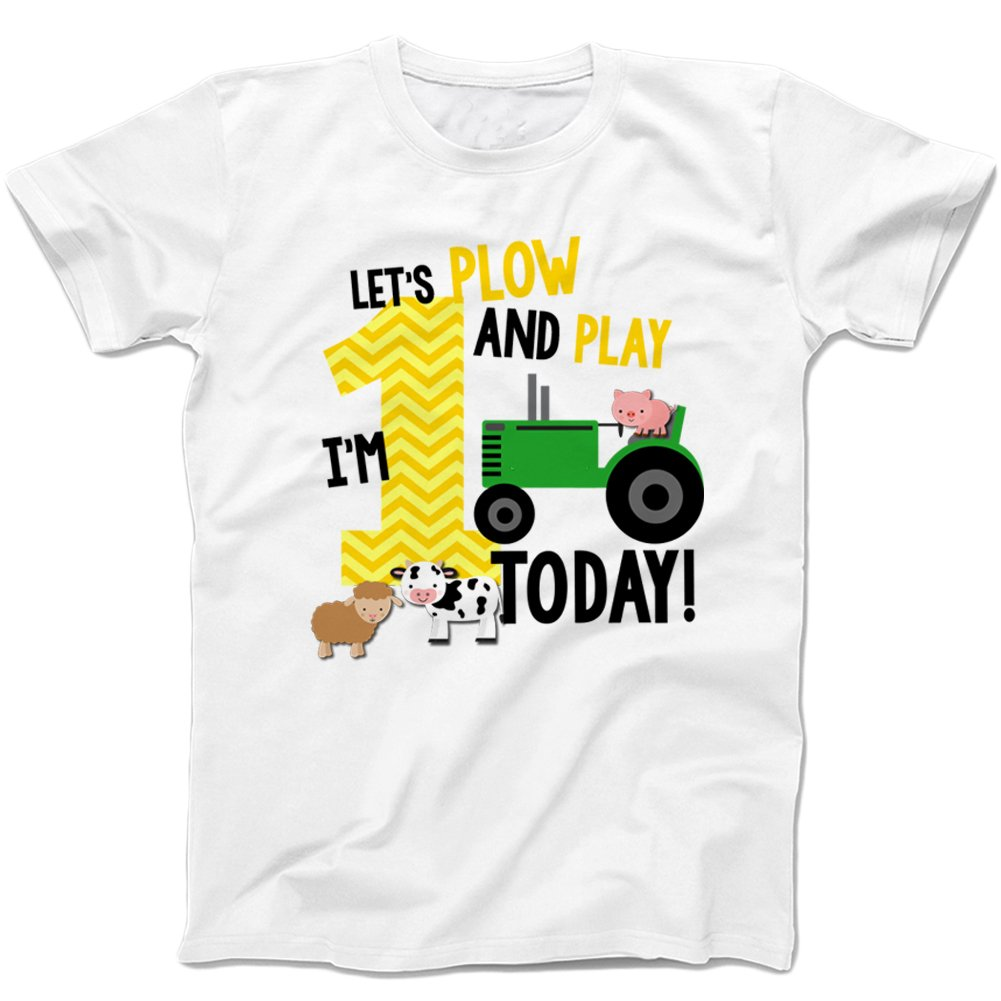 af6c633f7 Amazon.com: Zoey's Attic First Birthday Shirt - Lets Plow and Play Farm  Theme Boy's First Birthday -White: Clothing