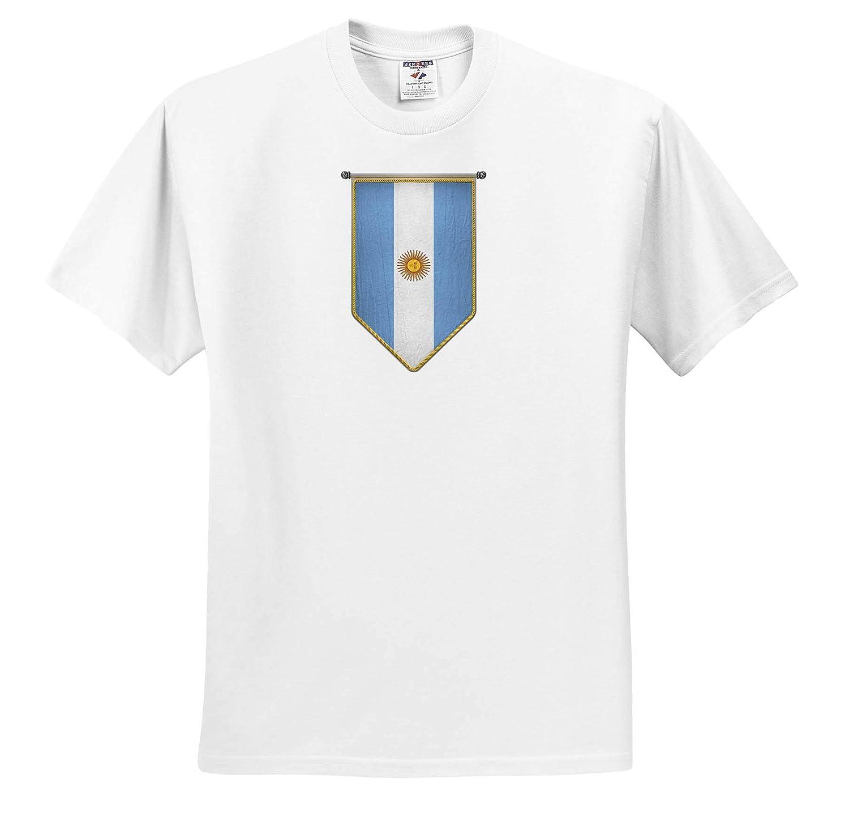 3dRose Carsten Reisinger ts/_315417 Argentina Flag Pennant Vertical Argentinian Banner Adult T-Shirt XL Illustrations