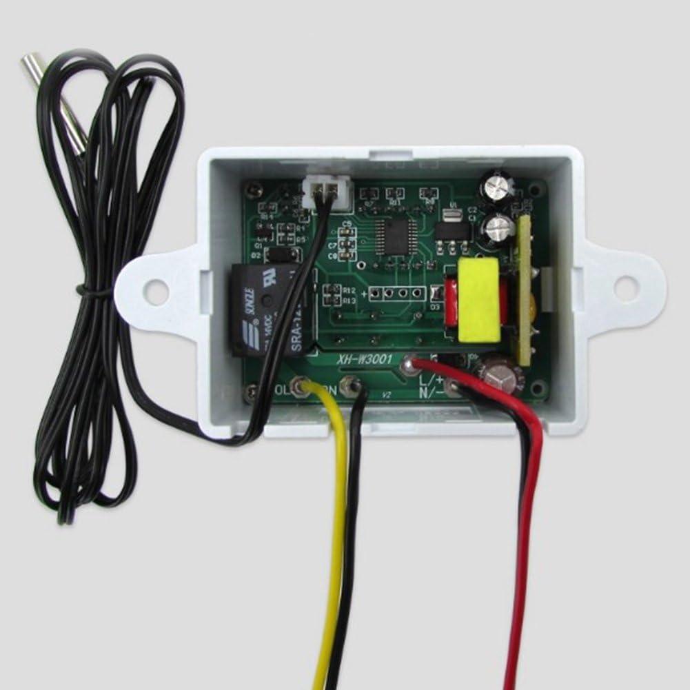 12v con sonda de Sensor Show 50-110 ℃ Controlador Digital de Temperatura multifunci/ón Pantalla LED Behavetw XH-W3001 Controlador de termostato Digital