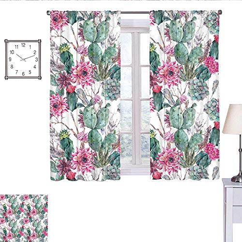 WinfreyDecor Cactus Decor Bedroom Curtains Cactuses Spring Blooms Twigs and Arrows Composition Boho Chic Vintage Flora Short Curtain Multicolor W55 x L63