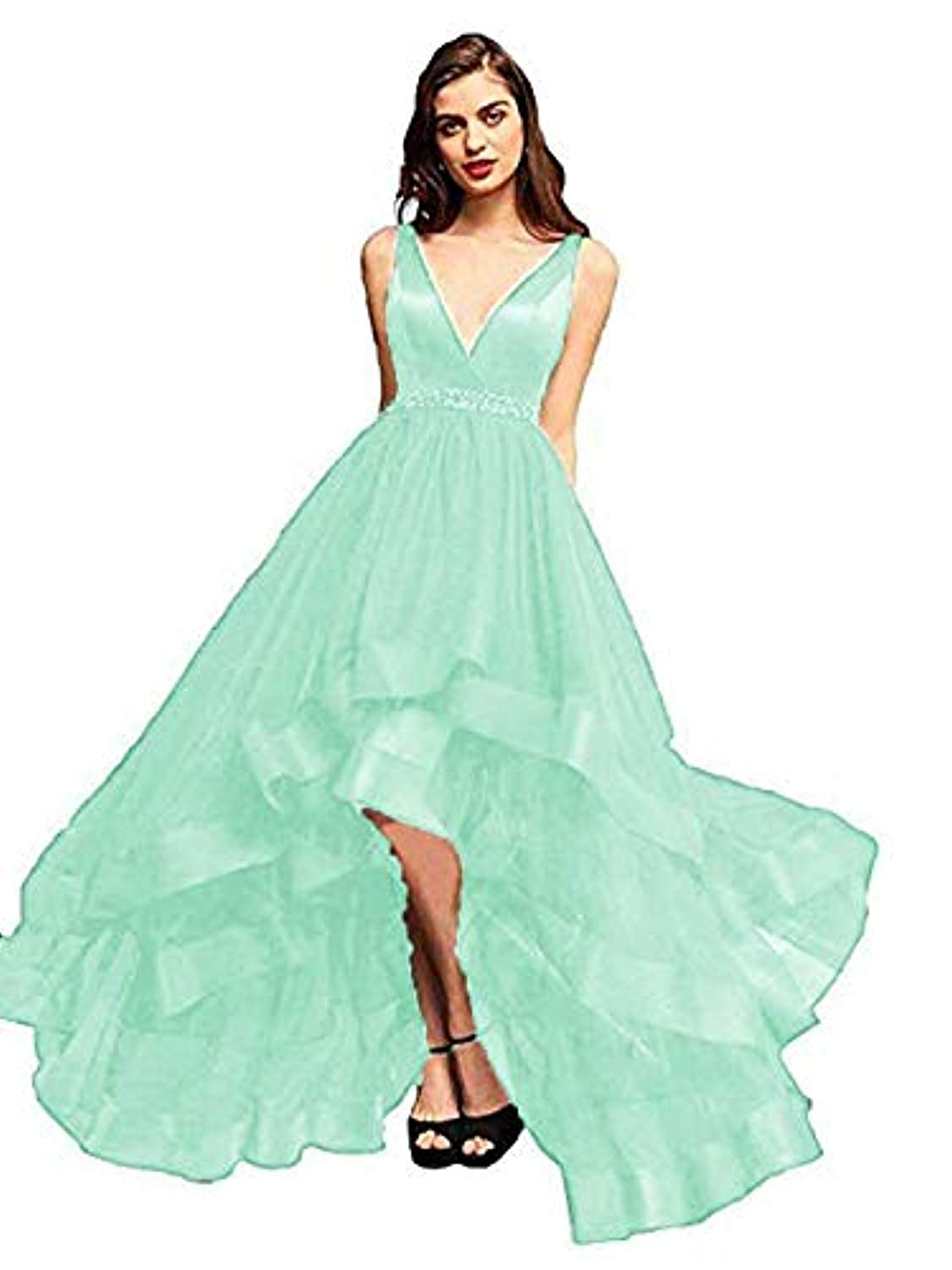 Light bluee Marirobe Women's High Low V Neck Evening Dress Sleeveless Prom Gown