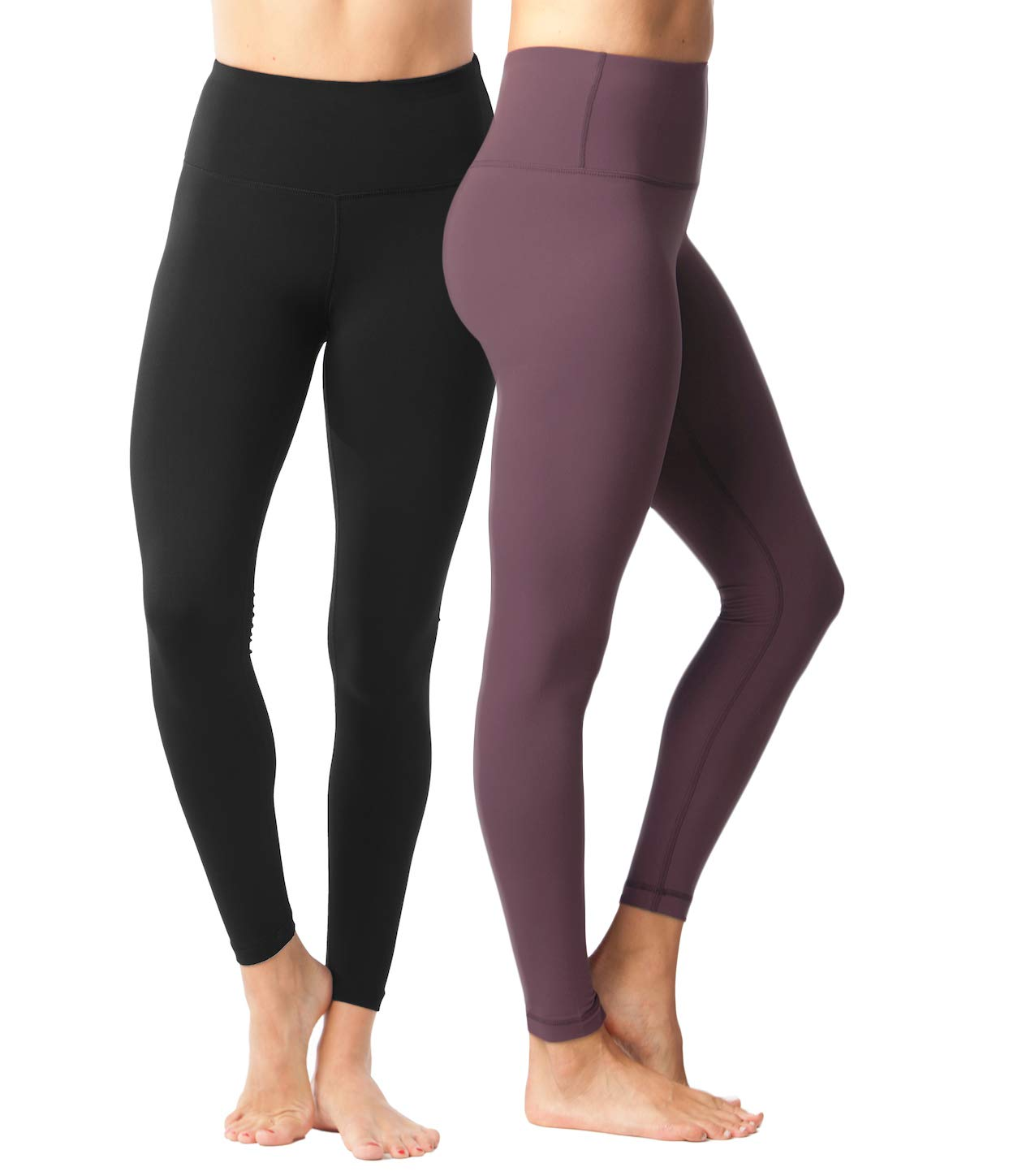 Yogalicious High Waist Ultra Soft Lightweight Leggings - High Rise Yoga Pants - 2 Pack - Black and Dusky Orchid - XS