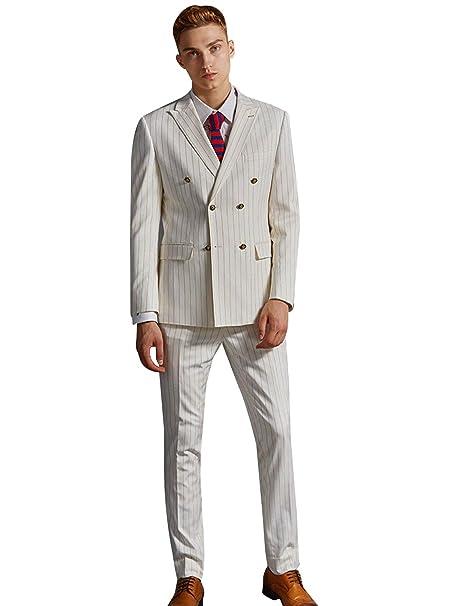 YYI Hombre Traje a Rayas de 2 Piezas Conjunto de Pantalones ...