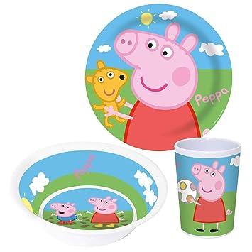 Peppa Pig Juego de Desayuno 3 Partes | Melamina | Vajilla Infantil ...