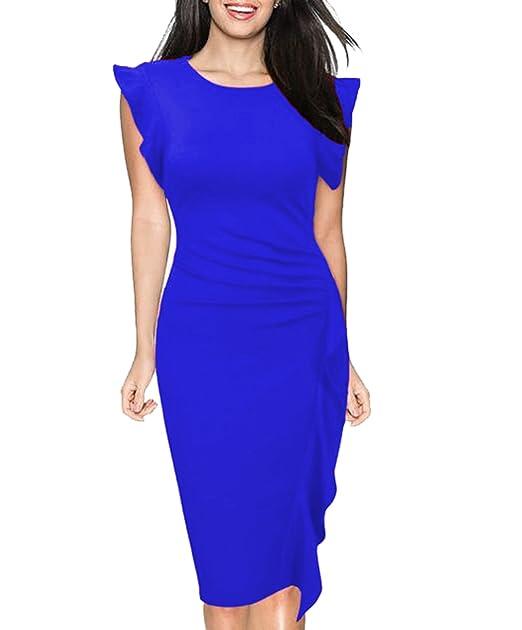 finest selection cd825 9d671 Donna Elegante Vestito al Ginocchio di Colore Solido Vestiti ...