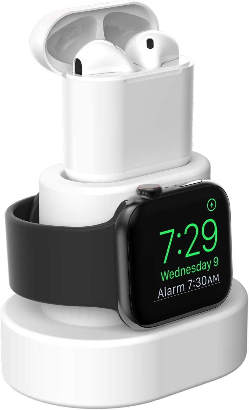 Moretek Charger Stand for Apple Watch 38mm 42mm 40mm 44mm iWatch Series 1 2 3 4 5 Apple Watch Charging Stand Holder, AirPods Accessory Charger Dock (White)