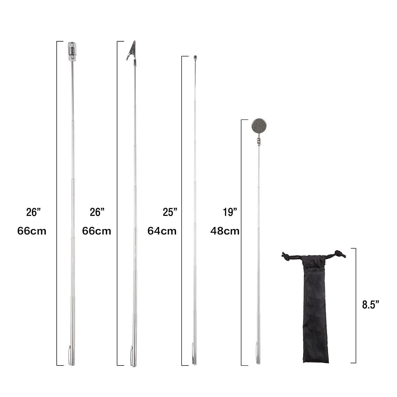 4 piezas Kit de herramientas telesc/ópicas con pastilla magn/ética linterna pinza de cocodrilo extensible Trimate espejo giratorio y funda de transporte
