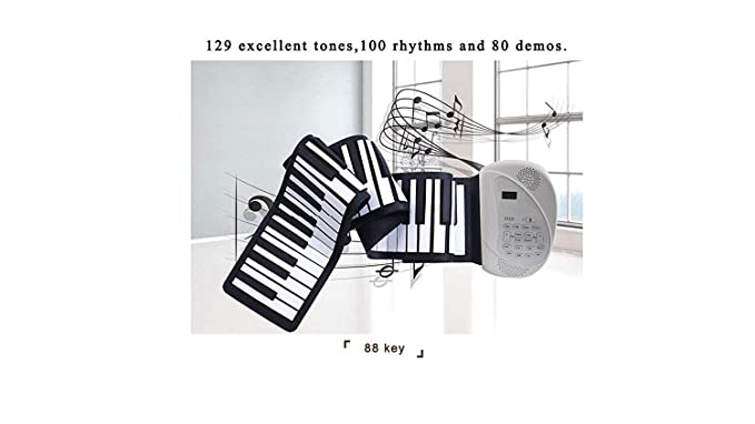 LuckyAnn Roll up Piano Portable Piano Key Flexible Soft Power Digital roll Keyboard Built-in Loud Dual Speaker can USB Charge AA Battery for Children ...