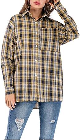 WODENINEK Camisa a Cuadros Amarilla Estilo Europeo y Americano La Camisa Manga Larga Parte Superior Suelta Simple y Casual Adecuado para IR De Compras, Viajes,L: Amazon.es: Hogar
