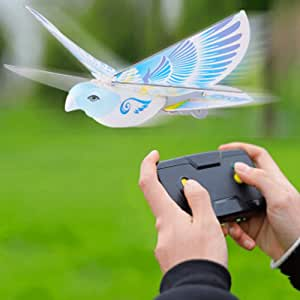 Mopoq Remote Control Induction Child Adult Electric Bird Simulation Flapping Wing Bird 360° Hovering Charging Toy Boy Girl Toy Parent-child Interaction Indoor Outdoor Remote Control Blue