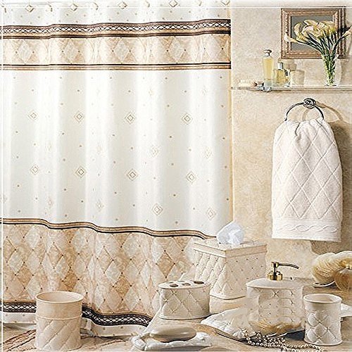 uphome shabby chic linen beige diamond marble pattern bathroom shower curtain water and mould resistant polyester fabric curtains kids bathroom decor - Luxury Shower Curtains