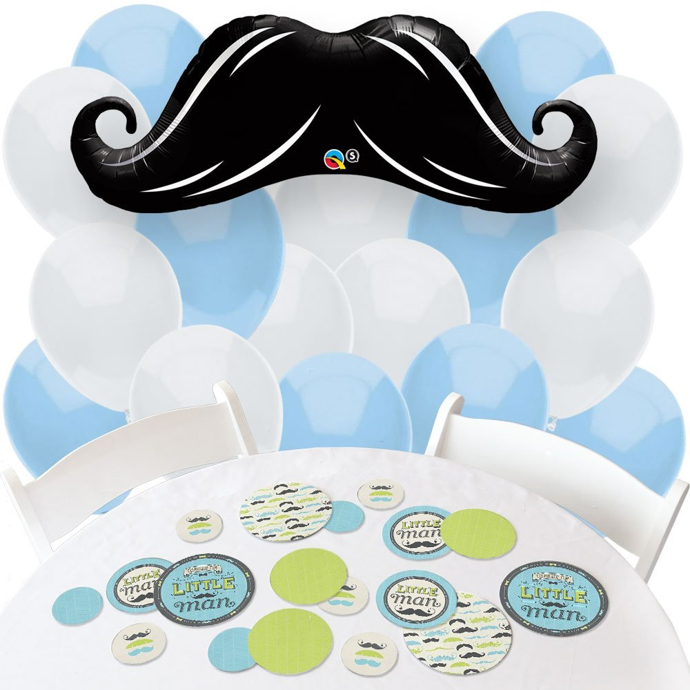Dashing Little Man Mustache Party - Confetti and Balloon Baby Shower or Birthday Party Decorations - Combo Kit