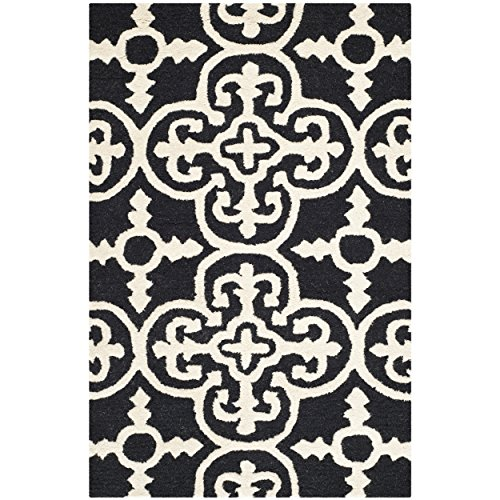 Safavieh Cambridge Collection CAM133E Handcrafted Moroccan Geometric Black and Ivory Premium Wool Area Rug (2'6