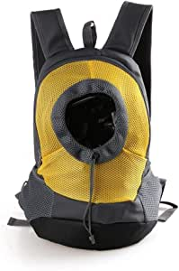 MAOSHE Pet Dog Carrier Bag Backpack Head Out Carrier Double Shoulder Bag Pet Backpack for Walking, Hiking,Travel, Bike and Motorcycle (Color : Yellow, Size : S)