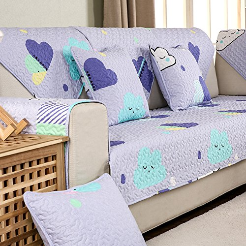 DW&HX Geometric patterned Heavyweight cotton Sofa slipcover Furniture protector,3 seats Non-slip Quilted Sofa protector perfect for pets and kids-C pillowcase 18x18inch ()