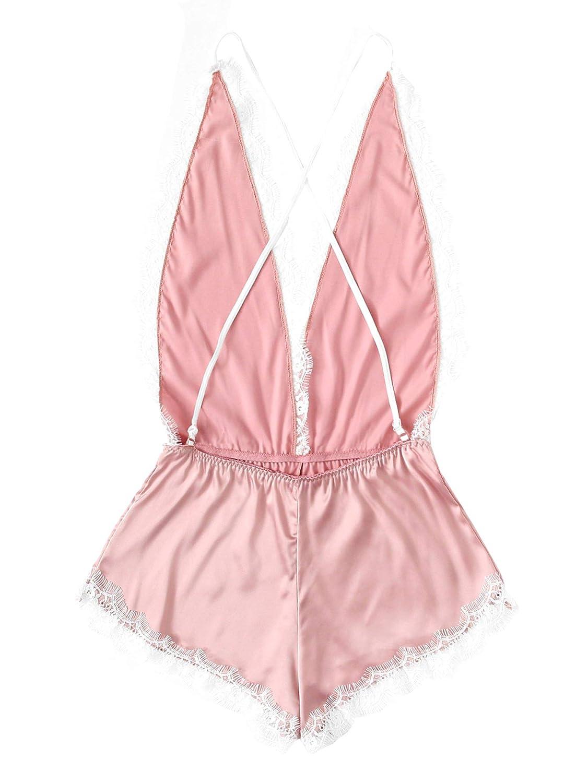 6e8b13077 SweatyRocks Women s Sexy Babydoll Bodysuit V Neck Lingerie Nightwear Lace  Romper Pajamas Sleepwear Pink 2 Small at Amazon Women s Clothing store