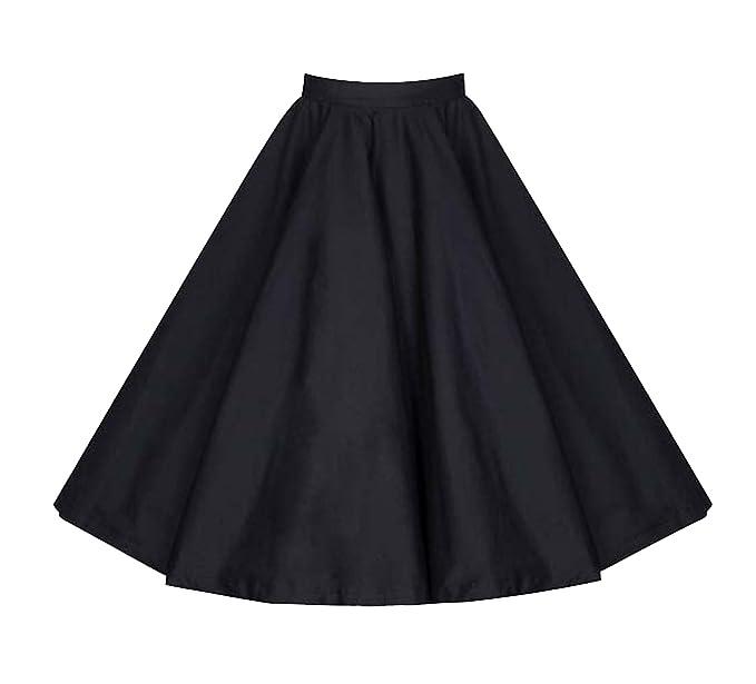 8e6bf0d604 Killreal Women's Casual Knee Length High Waisted Flare Midi A Line Full  Circle Formal Skirt Black