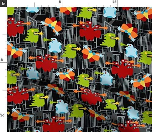 Spoonflower Imaginary Creatures Fabric - Imaginary Animals Fantasy Kaiju Geek Nerd Godzilla by Thirdhalfstudios Printed on Modern Jersey Fabric by The Yard ()