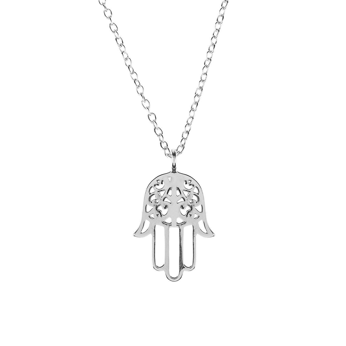 MESE London Hamsa Hand Necklace 18ct Gold Plated/ Platinum Plated Lucky Fatima Pendant - Elegant Gift Box cXnXC6xOcS