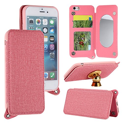 iPhone 6 Plus Case,iPhone 6S Plus Mirror Flip Case Pink,Gostyle Slim PU Leather Buckle Clip Wallet Case with Soft TPU Cover,Credit Card Holder,Detachable Strap,Build-in Magnetic Car Mount Plate.