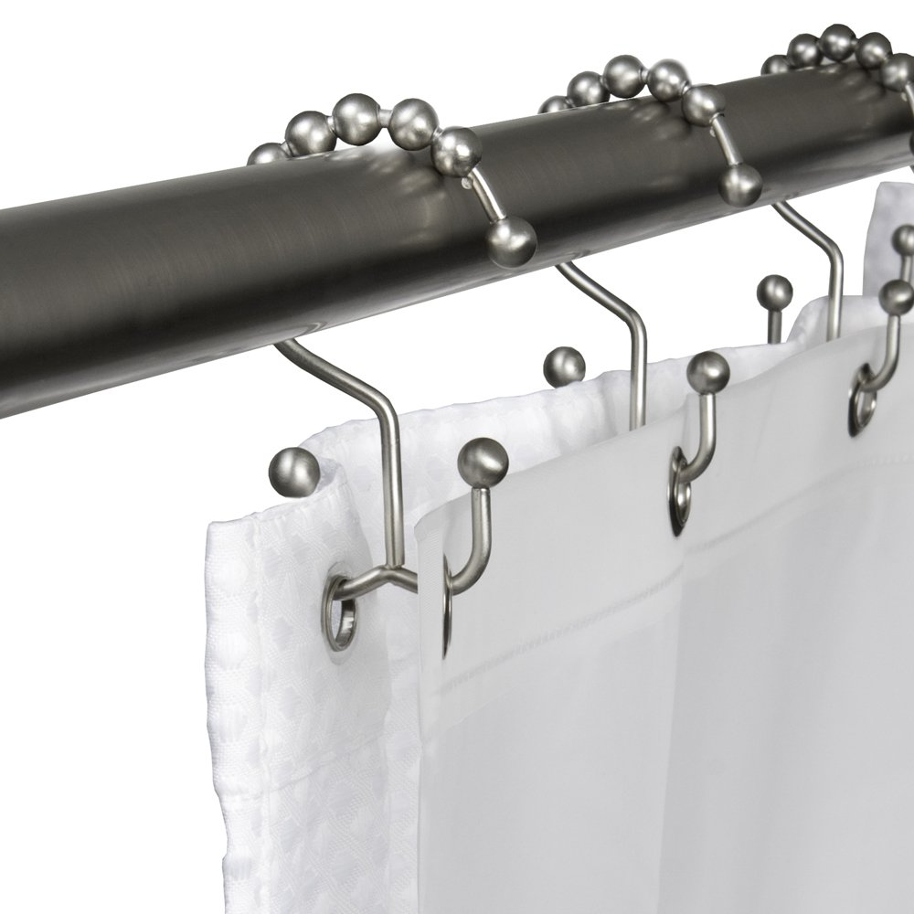Amazon.com: Maytex Metal Double Glide Shower Curtain Ring/Hooks ...
