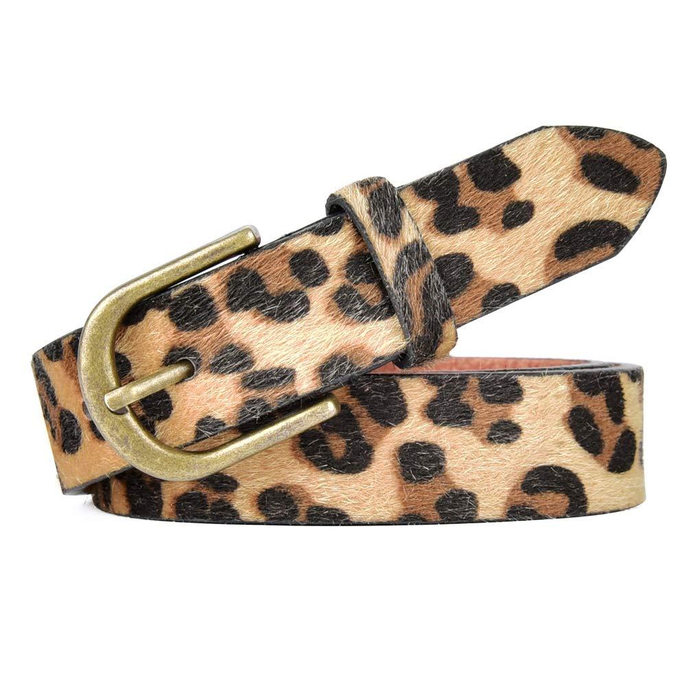 Talleffort Leopard Print PU leather Belt Women's Waist Belt Artificial Horse hair Belts for Women BWYD-000-M