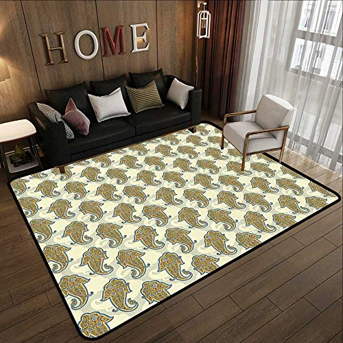 Contemporary Indoor Area Rugs,Bohemian,Paisley Pattern Traditional Ethnic Boho Culture Leaf Print with Eastern Effects,Mustard 47