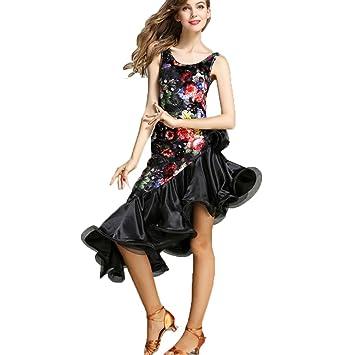 Wangmei Escotado por Detrás Mujer Vestido de Baile Latino Terciopelo Sin Mangas Vestidos de Competencia Vendimia