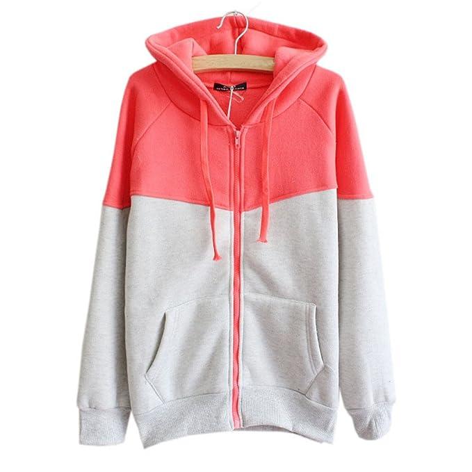 COCO clothing Otoño Chaquetas con Capucha de Mujer Universidad Patchwork  Sweatshirt Casual Cardigans Manga Larga Jersey ad0c87dbb93f