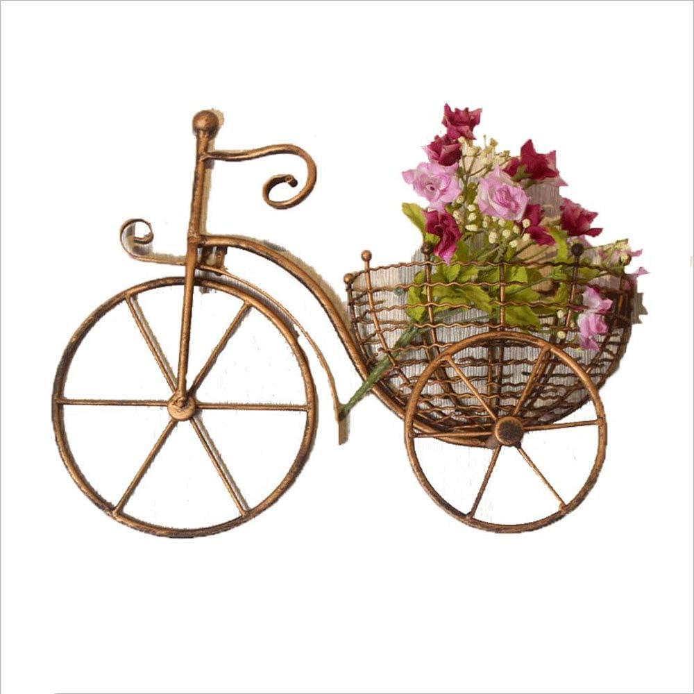 XZGDEN Europeo De Hierro Forjado Colgante de Pared Soporte de Flor Bicicleta Creativa Sala de Estar Balcón Colgante Florero Jardín Pequeña Cesta de Flores (Color : Oro)